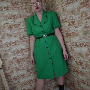 Vintage Bright Green Kasper A.S.L. Dress